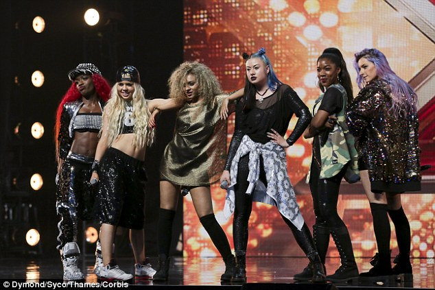 Just like the pros! Edgy girl band Alien pulled out all of the stops for their sassy performance