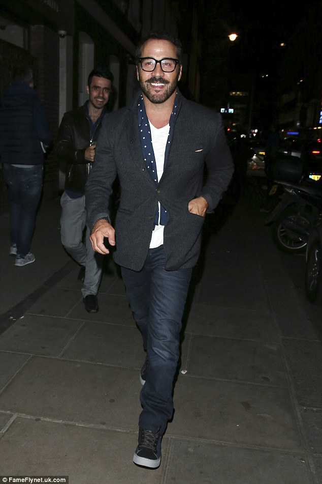 Suave:Mr Selfridge actor Jeremy Piven donned a smart/casual ensemble, consisting of jeans, a white tee and grey blazer