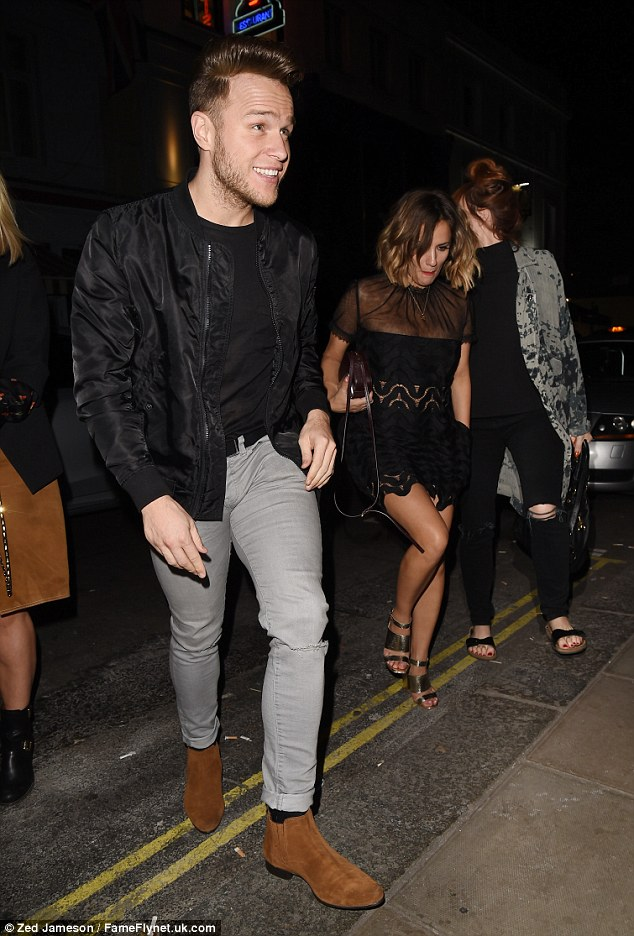 Happy chappy: The show's hosts, Olly Murs and Caroline Flack, also came along for the party