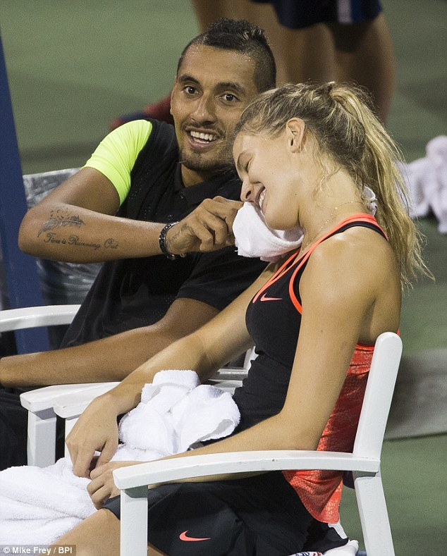 Nick Kyrgios and Eugenie Bouchard turned heads in their flirtatious first round win at the US Open yesterday