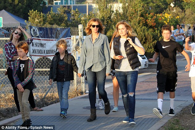 Carnival: Julia Roberts enjoyed a fun-filled time at a carnival in Malibu, California with her three children and friends on Friday