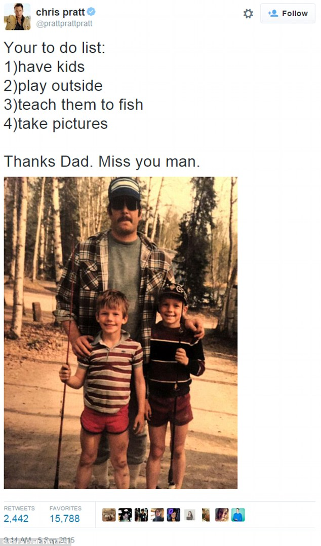 Bonding brothers: Chris Pratt paid a loving tribute to his late father on Saturday, sharing a childhood snapshot of his pops Daniel and elder brother Cully while holding up fishing rods in the woods
