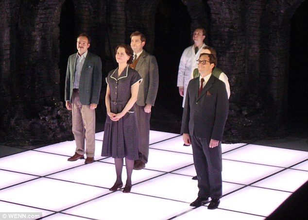 Curtain call: The cast all sported wide grins as they hit the stage following their first performance