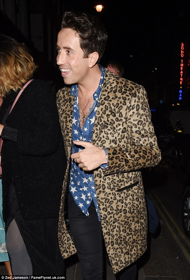 Birthday boy: Nick seemed in sprightly spirits as he was joined by his a-list friends for a night of drinking and dancing