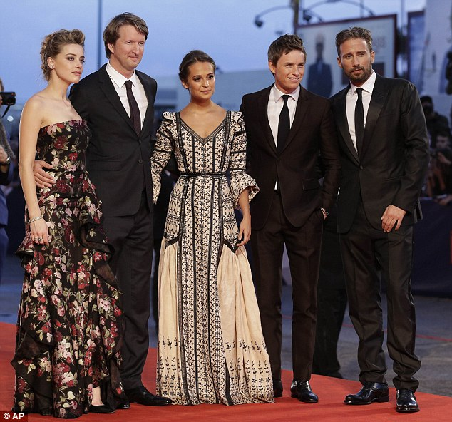 Starry line-up: Alicia was joined by co-stars Amber Heard (left), Eddie Redmayne and Matthias Schoenaerts as well as director Tom Hooper (second left)