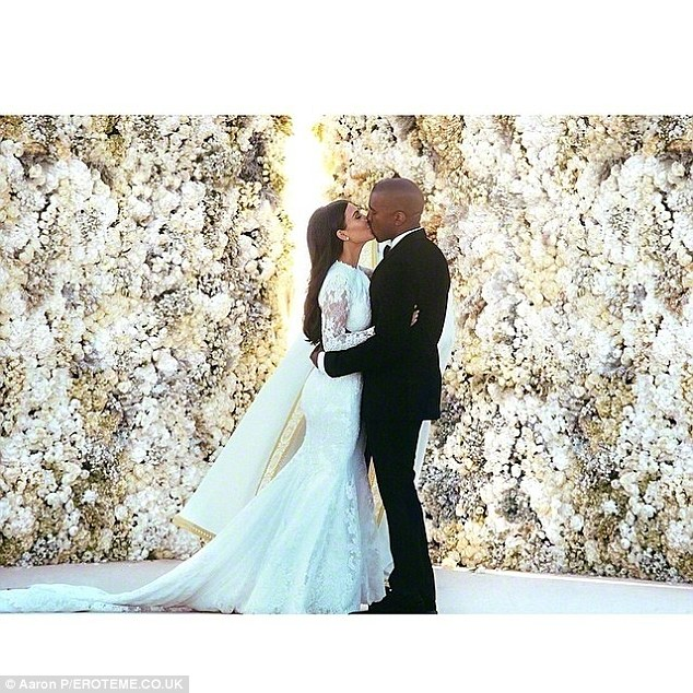 Similar! The floral arrangement resembled the 20ft white wall of flowers Kanye had gotten for his wife Kim Kardashian at their wedding in Florence, Italy in 2014