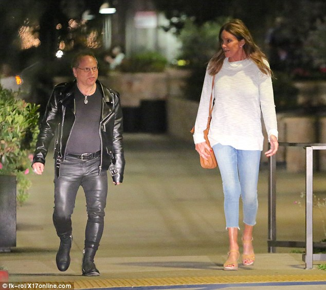 On point: Caitlyn - formerly known as Bruce Jenner - cut a relatively simple, yet, perfectly stylish figure in cropped denim jeans and a white knitted jumper