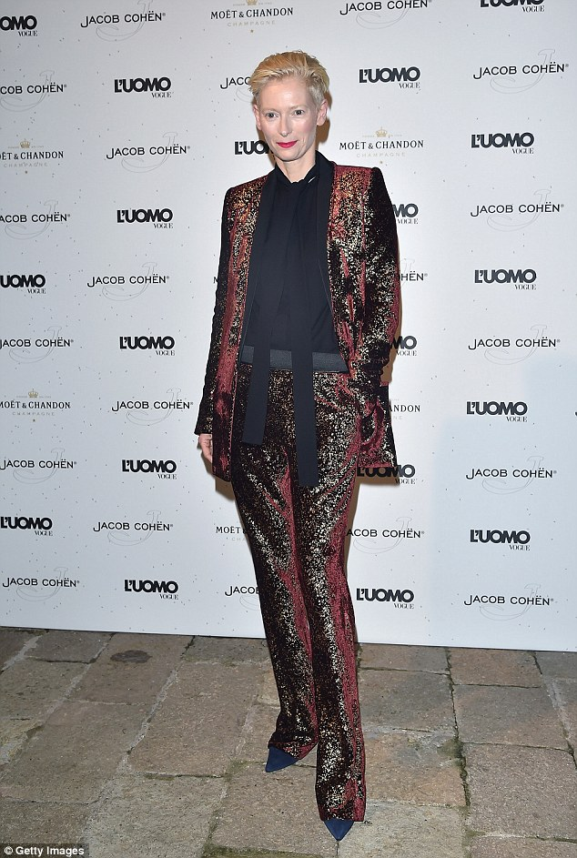Fashionista: Trainwreck actress Tilda Swinton was also at the soiree, where she rocked her typically eccentric, androgynous style