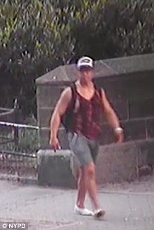 Surveillance footage captured images of the man, who was wearing a red tank top and gray shorts as well as a baseball cap, as he fled the park following the attack