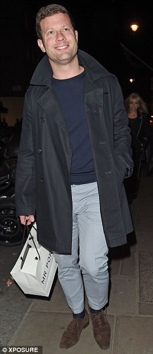 Beaming: Former X Factor host Dermot O'Leary was full of smiles as he arrived at Nick's star-studded birthday bash at Townhouse
