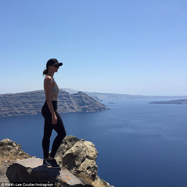 Getting sporty: The fitness fanatic enjoyed a hike on Friday in which she was dressed to impress