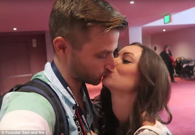 Ejected: Christian vlogger Sam Rader and his wife, Nia, put on a display of affection (above) while attending Vlogger Fair in Seattle, Washington state, on Saturday. Mr Rader was later kicked out of the conference
