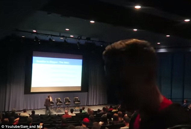 'Verbal altercation': The Raders captured this video footage of the conference on Saturday and later posted it on YouTube. Their friend, Davey, also a vlogger with his wife April, can be seen walking past the camera lens