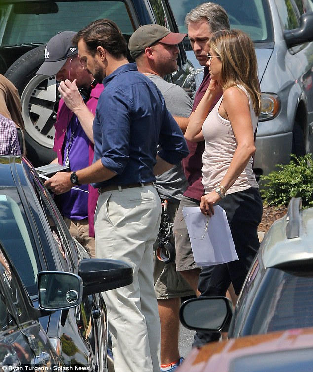 On the job: The newly married star filmed scenes with Jason Sudekeis on Thursday