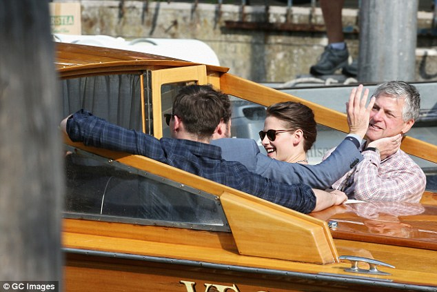 On their way back: The young stars were later seen departing the press conference together, exiting via water taxi