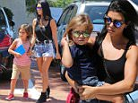 After a costume change from being at the park earlier, Kourtney Kardashian and her kids head to Malibu for lunch. Saturday, September 5, 2015. X17online.com