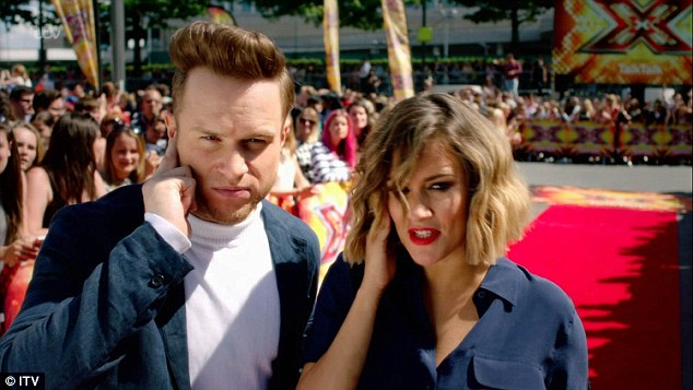 Over on the rival channel: Caroline was enjoying her second week as host of the X Factor with co-star Olly Murs (left)