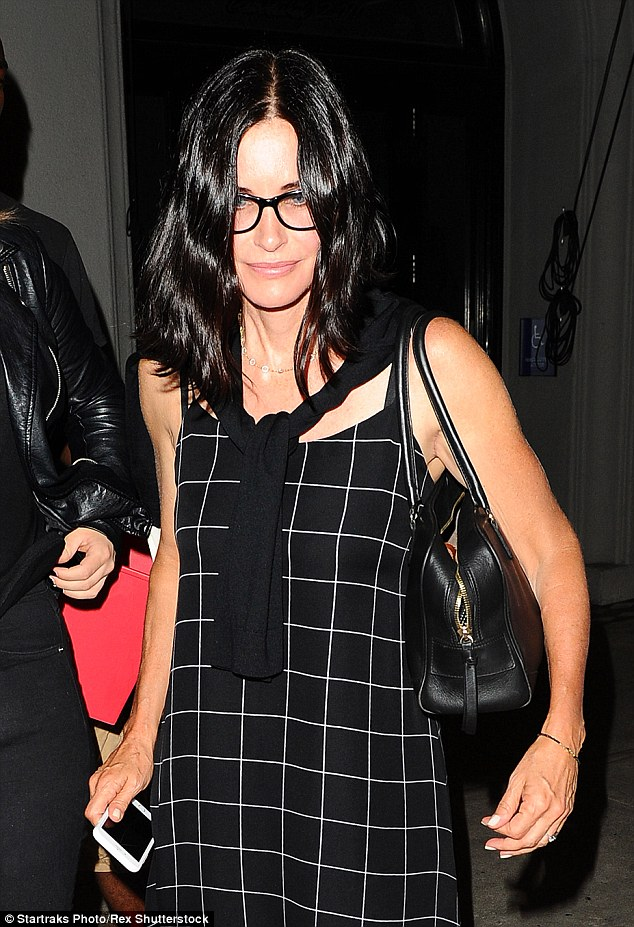 Invested in the brand: The actress has reportedly hooked her pal Courteney Cox on the electrolyte-infused water. Cox is pictured out in West Hollywood on Monday