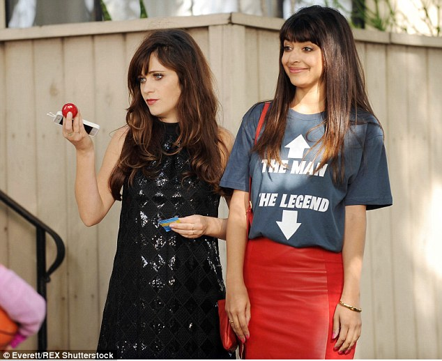 Working girl: Zooey stars with Hannah Simone in New Girl, which Fox renewed for a fifth season in spring