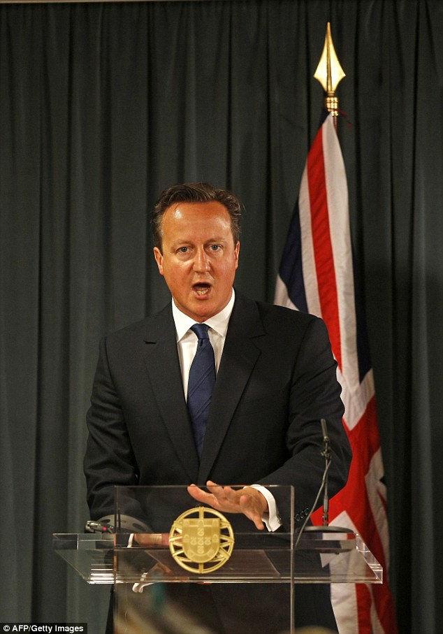 Action: British Prime Minister David Cameron promised the UK would take in 'thousands' of Syrian refugees
