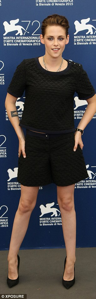 Glamorous: The Twilight actress looked trim in a black quilted co-ord set