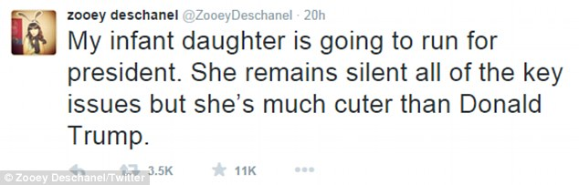 Her first thoughts: Zooey Deschanel shared this message with her 6.7 Twitter followers on Friday