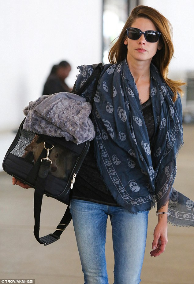 Travel style: Actress Ashley Green carried her pet dog with her as she touched down at LAX on Sunday