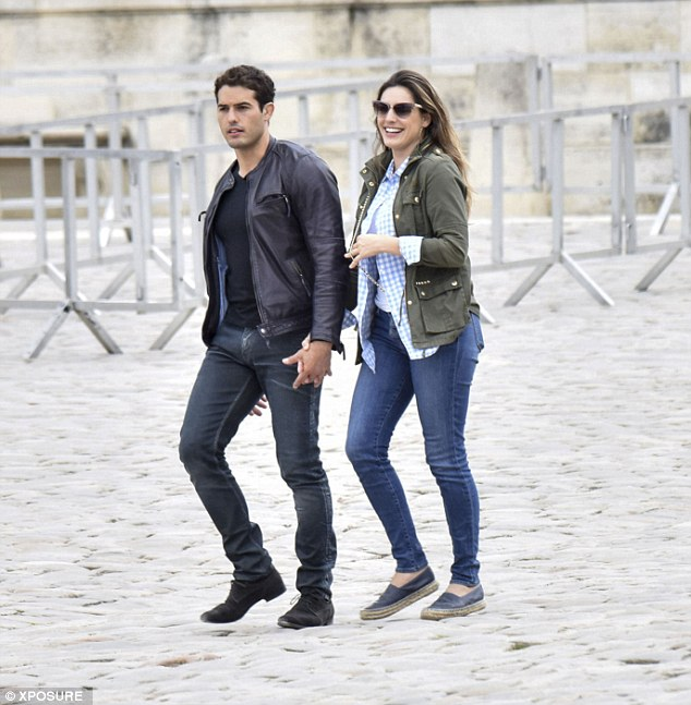 All smiles: The brunette, 35, was spotted looking seriously loved up as the pair visited the Palace of Versailles - where they spent much of it hand-in-hand.