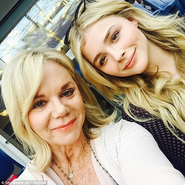 'OMG...we are at the U.S. open!'  Chloë Grace Moretz surprised her mother Teri by taking her to day six of the US Open Tennis Championships in Manhattan Saturday