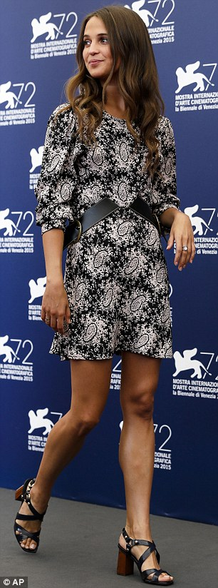 Relaxed: Alicia Vikander looked cute in a paisley print dress