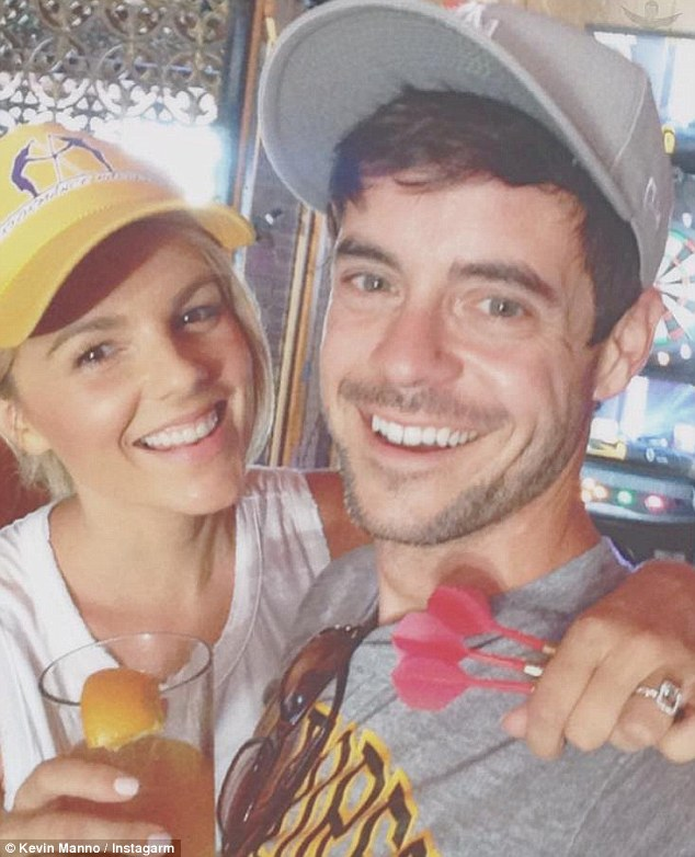 Low key! Ali Fedotowsky and her new fiancé Kevin Manno toasted to their engagement 'at the grossest bar in town' on Friday