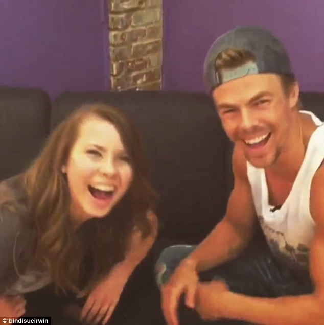 'G'Day mate!' Bindi Irwin is currently gearing up to compete on the US version of Dancing With The Stars but took time out of her busy schedule to teach her dance partner Derek Hough some Aussie slang