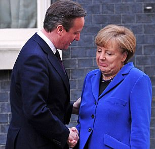 Cameron showed Merkel a PowerPoint presentation which included pictures of them hugging