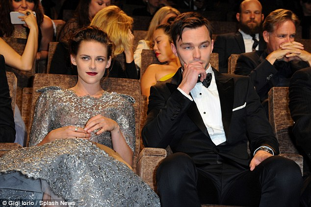 Playing it cool? The good-looking co-stars sat side by side some of the time in a calm manner