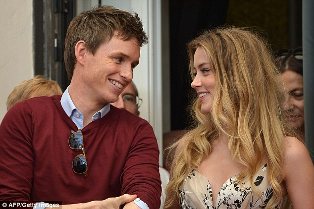 Good friends: It was clear to see Eddie and Amber have struck up a good relationship on the set of their new movie together