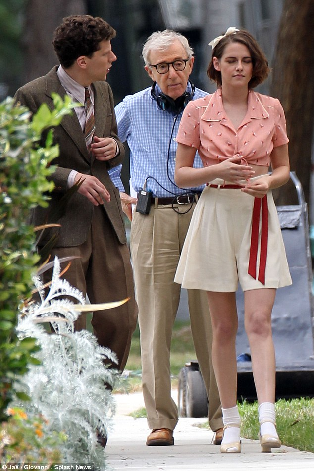 Latest project: Woody Allen pictured on set with actress Kristen Stewart and co-star Jesse Eisenberg