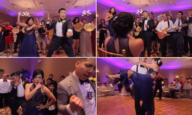 Orlando newlyweds film incredible wedding dance featuring ALL their 250 guests