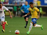 Brazil's Neymar (10) controls the ball in front of Costa Rica's David Guzman during the friendly match between Brazil and Costa Rica on September 5, 2015 at Red Bulls Arena in Harrison, New Jersey. AFP PHOTO/ DON EMMERTDON EMMERT/AFP/Getty Images