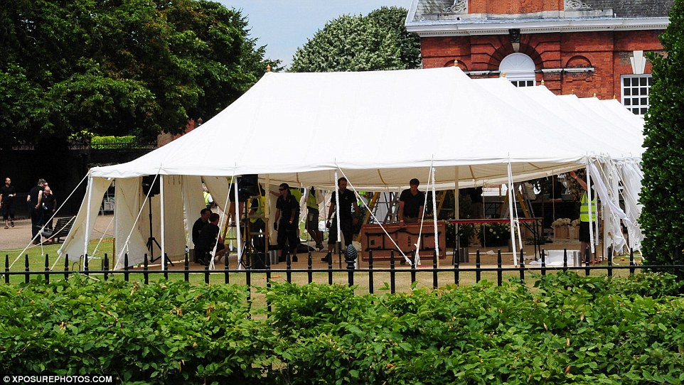 Lavish: A marquee had been erected outside the historic palace, which is home to the Duke and Duchess of Cambridge