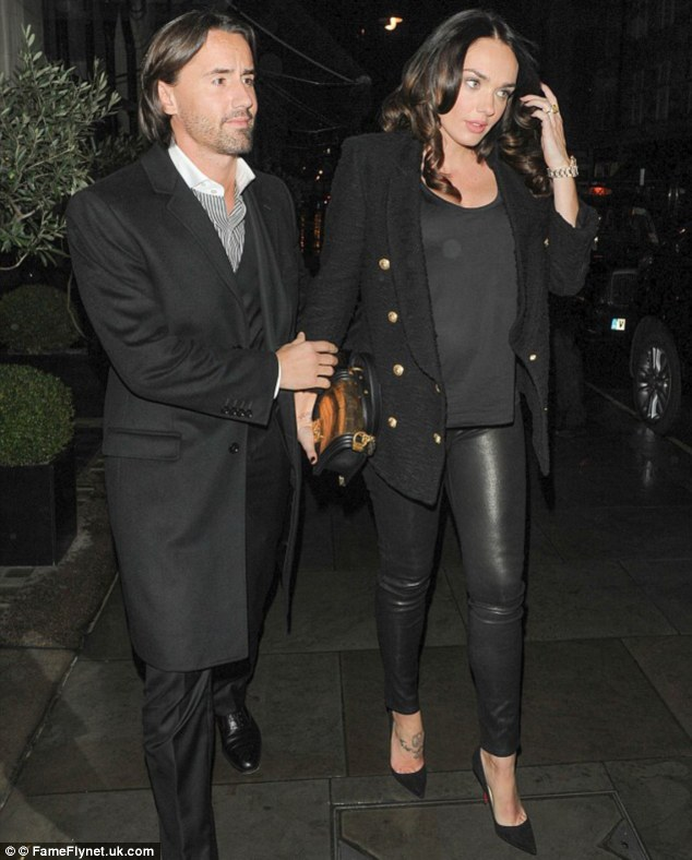 Leather and heels: Socialite and F1 heiress Tamara Ecclestone was spotted in her trusty leather trousers several times during her pregnancy and wore towering black heels throughout