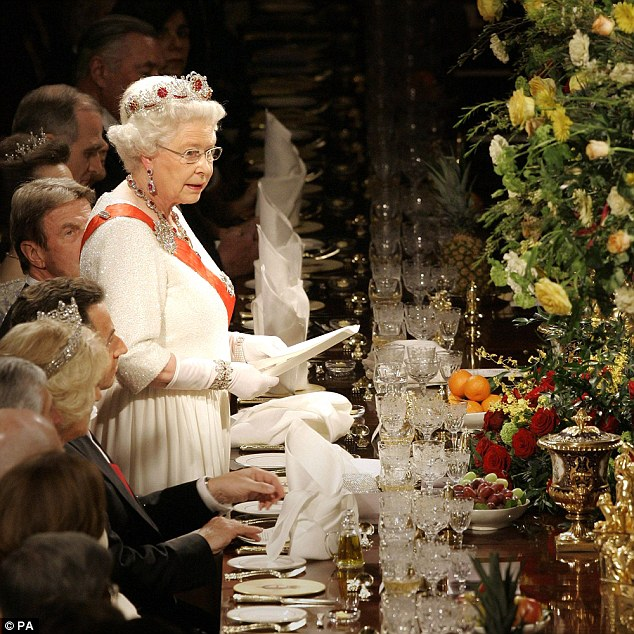 Queen Elizabeth II speaking at a state banquet at Windsor Castle in Windsor at the start of a two-day state visit by President Sarkozy