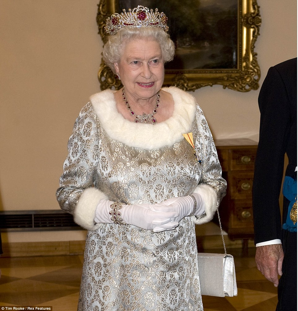 2008: During a visit to Slovenia, the Queen wore a silver-grey brocade gown to a state dinner held in honour of her and Prince Philip