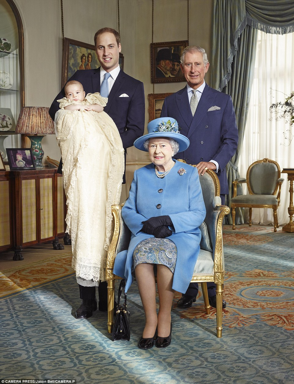 2013: The birth of Prince George in 2013, meant their were three direct heirs to the throne. Pictured alongside her at the young prince's christening were Prince Charles and Prince William