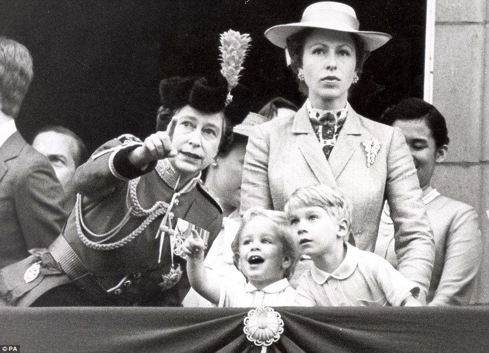 1980: By 1980, the Queen had become a grandmother for the first time with the birth of Peter Phillips. They are pictured together on the balcony of Buckingham Palace alongside the five-year-old Earl of Ulster