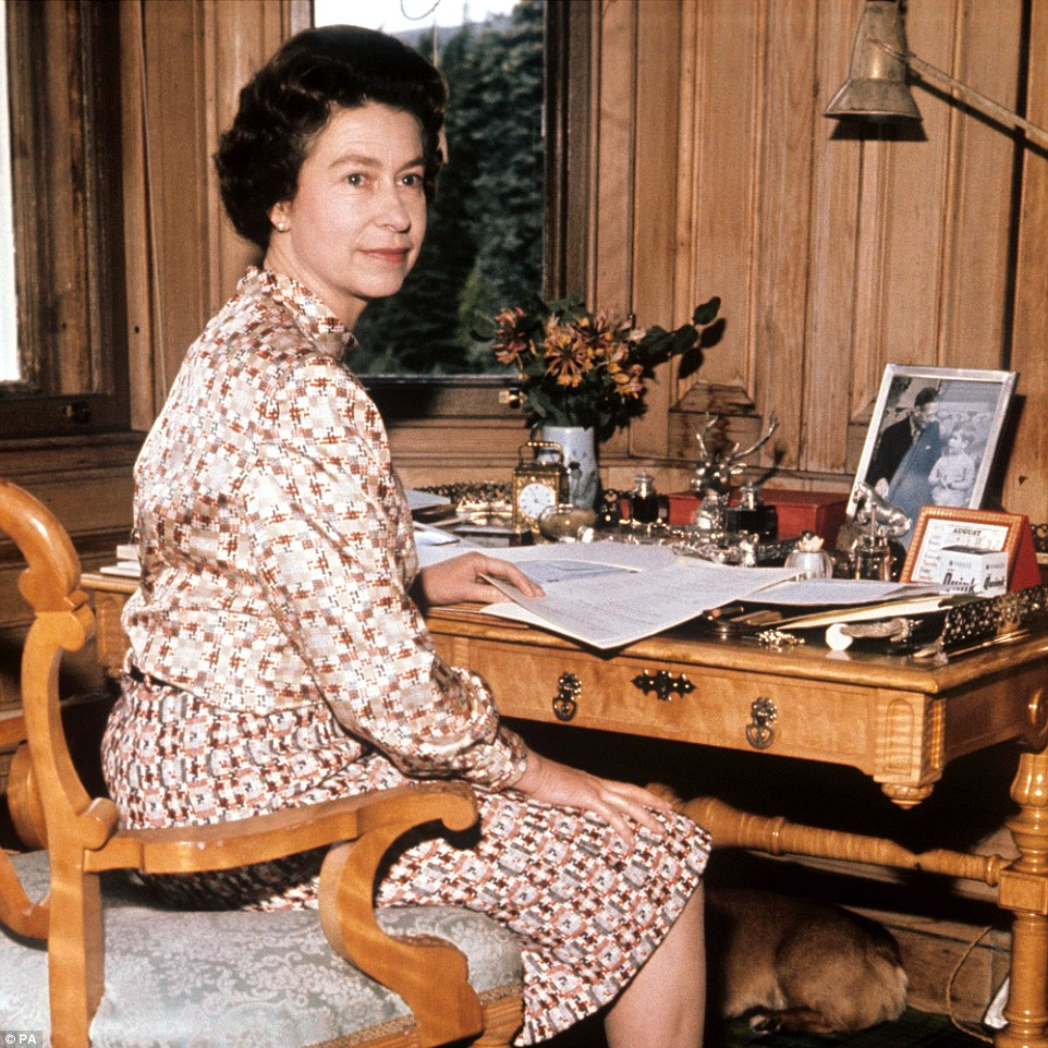 1972: The Queen in her study at Balmoral working through papers. Even when she is away from London, the Queen still receives official government papers everyday