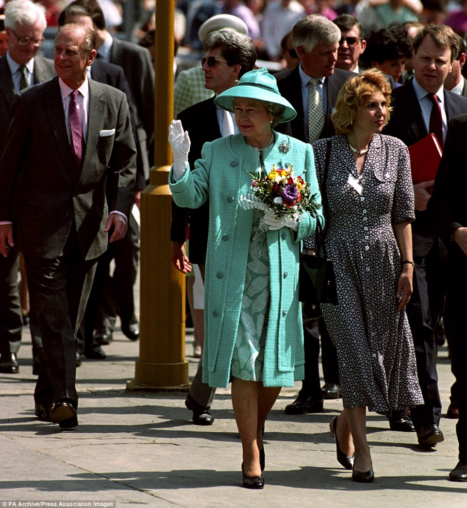 1993: Known for her love of hats, the Queen is pictured wearing a Kucsma hat during a visit to Kecskement, Hungary with the Duke of Edinburgh