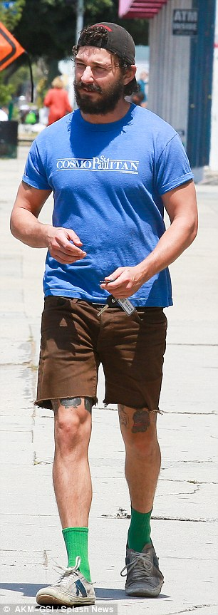 Changed man: The suave star was certainly a far cry from his appearance (L) in West Hollywood in August