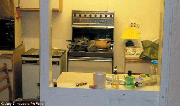 Lethal: The pans on top of this stove were used to boil down hydrogen peroxide, one of the main components of the bombs