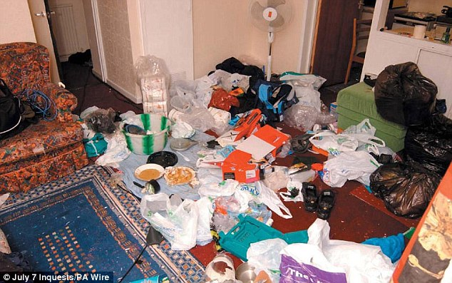 Mess: The lounge of the flat was strewn with items which aided the manufacture of the devices