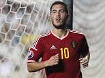 Belgium's Eden Hazard celebrates his goal against Cyprus during the Euro 2016 qualifying Group B match between Cyprus and Belgium, at GSP stadium, in Nicosia, Cyprus, Sunday, Sept. 6, 2015. (AP Photo/Petros Karadjias)